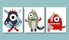 *** UNFRAMED - THE PRINT NOT ON THE CANVAS - PRINT ON PAPER *** 1542 1543 1544   Nursery Print Kids Wall Art Monster Nursery Childrens Art Print