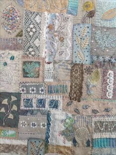 Hand embroidered panel using scraps,ongoing.Debbie Irving