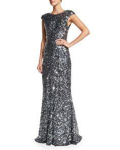 Alyssa Cap-Sleeve Sequined Gown, Silver by Rachel Gilbert at Neiman Marcus.