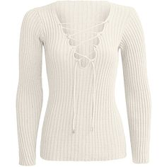 Yoins Beige Plunge Lace-up Knit Sweater with Long Sleeves ($14) ❤ liked on Polyvore featuring tops, sweaters, shirts, white, long sleeve tops, long sleeve shirts, long sleeve sweater, white lace up shirt, lace up long sleeve top and lace up front shirt
