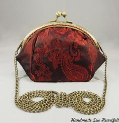 Large Red Coin Purse, or Kiss Clasp Bag With Shoulder or cross body Chain.   #coinpurse #vintagestyle #retrofashion #bagsandpurses #kissclasp