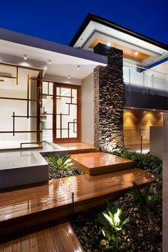 Great modern example of steps up to a front door