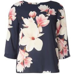 Dorothy Perkins Blue Floral Print Top (140 BRL) ❤ liked on Polyvore featuring tops, black, blue floral top, three quarter sleeve tops, dorothy perkins, flower print tops and floral 3/4 sleeve top