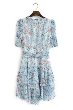 floral v-neck chiffon dress