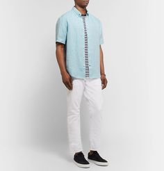 Club Monaco Slim-fit Button-down Collar Slub Linen-chambray Shirt In Blue Beige Chinos, Ralph Lauren Jeans, Henley Shirts, Button Down Collar, Club Monaco, Sports Shirts, Chambray, Slim, Mens Tops