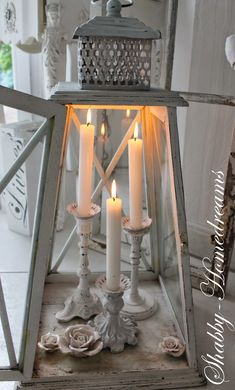 Place candles in a lantern --a great way to decorate with candles...and lanterns!