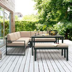 Outdoor Couch, Outdoor Dining, Outdoor Decor, Garden Design, Outdoor Furniture Sets, Pergola, Terrazzo, Sweet Home, New Homes