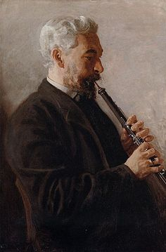 ♪ The Musical Arts ♪ music musician paintings - Thomas Eakins | The Oboe Player, 1903
