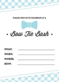 Free Printable Bow Tie Bash Invitation! Pizzazzerie.com