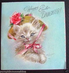 Up for auction is 1 Vintage Easter greeting card. A Rust Craft Card. Art by Marjorie Cooper. Sweet Kitten wearing a floral Easter Bonnet. This card is out of a scrap. Vintage Cat, Vintage Easter, Vintage Christmas, Christmas Cards, Easter Cats, Happy Easter, Easter Greeting Cards, Vintage Greeting Cards, Greeting Card Companies