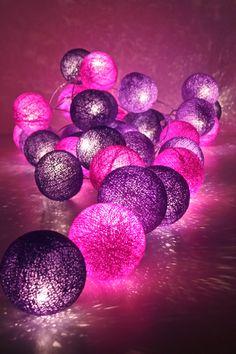 guirlande lumineuse 35 boules ambiance rose et mauve - Guirlande Boules Colores