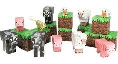 Minecraft Papercraft Animal Mobs - Favor Toys & Games and Party Supplies Minecraft Party Supplies, Minecraft Videos, Minecraft Activities, Minecraft Toys, Minecraft Cake, Thing 1, Goodie Bags, Craft Kits, New Toys