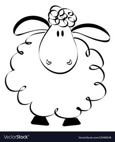 Funny sheep drawing vector image on VectorStock Art Drawings For Kids, Doodle Drawings, Doodle Art, Easy Drawings, Funny Sheep, Cute Sheep, Sheep Drawing, Sheep Illustration, Sheep Cartoon