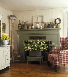 For warm months, do arrangement like this in front of fireplace and move chairs   like this for nice conversation area.