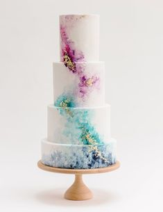 Claire Owen Cakes — Most Curious - The Wedding Show for the style savvy couple Four tier iced colourful wedding cake by Claire Owens Fall Wedding Cakes, Beautiful Wedding Cakes, Wedding Cake Designs, Beautiful Cakes, Amazing Cakes, Gold Wedding, Purple Wedding, Colourful Wedding Cake, Floral Wedding