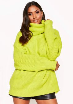 3060d74fe4 Missyempire - Tamarah Neon Yellow Roll Neck Oversized Knit Jumper Xmas  Jumpers