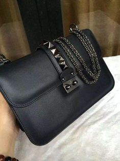 a9e123d3d8f valentino glam lock bag in black leather with gunmetal hardware Women s  Handbags Wallets –