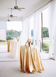 Gold Cocktail Tables with Cream and Beige Centerpieces #wedding #southernwedding #cocktails