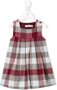 Brown and red Jul checks pinafore dress from Knot featuring a square neck, a button fastening, a sleeveless design, a gathered design, a mid-length and a concealed snap fastener at the side. Frocks For Girls, Kids Frocks, Little Girl Dresses, Vintage Baby Dresses, Check Pinafore Dress, Girls Pinafore Dress, Fashion Kids, Fashion Women, Fashion Dolls