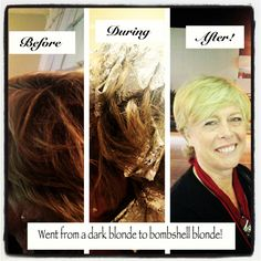 Before and After picture of my client going from dark blonde to bombshell blonde! What a fun transformation!!!