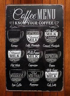 Wall Art- Kitchen Chalkboard Print -Chalkboard Coffee Subway Art Typo- Coffee Menu- Coffee Recipes-Know your Coffee Print 8 x 10 Coffee Milk, Espresso Coffee, My Coffee, Coffee Drinks, Coffee Cups, Coffee Maker, Black Coffee, Coffee Creamer, Coffee Barista