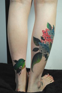 Mejiro and Ajisai,Gakkin tattoo    all works are made by FREE HAND . GAKKIN TATTOO(Kyoto tattooist) now workin, at harizanmai studio. see the website www.harizanmai.jp