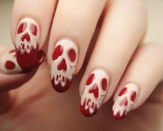 Ghost Face On Red Nails Halloween Nail Art Accent Spider Web Halloween Nail Art…