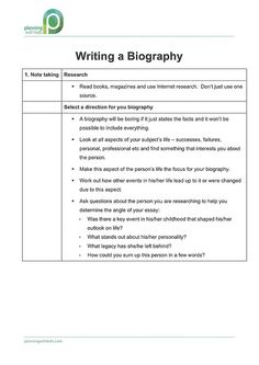 PWK - How to write a Biography Writing A Biography, Biography Project, Essay Writing, Writing A Book, Writing Genres, Report Writing, Writing Skills, Fourth Grade Writing, Writing Folders