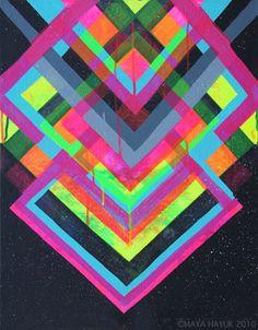 """Chem Trails"": New Mural in New York by Maya Hayuk. New geometric, multi-colourful works of American graffiti artist, Maya Hayuk. Her recent series ""Chem Pattern Art, Print Patterns, Aztec Patterns, Graffiti, Neon Painting, Collage, Art Plastique, Neon Colors, Bright Colors"