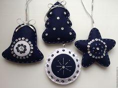 Купить Новогодние игрушки из фетра Синяя коллекция - елочные игрушки, елочные…