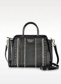 9afb756fea Versace Jeans Black Eco Leather Small Tote w/Studs and Chains WAS: $308.00  NOW: $215.60