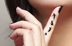 Peter Pan Inside Finger Tattoo.