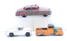 """Vintage 3x Tootsie Pressed Steel Toys 2 Trucks & 4 1/4"""" Fire Chief Car #TOOTSIE #TRUCKSCARS"""