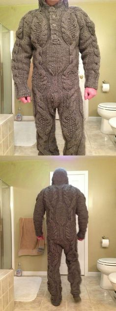 "Ha!  This is what happens when you run out of knitting projects!  Don't get too creative ladies! :)    Notice this sad Etsy boyfriend will not show his face. This looks like a failed superhero idea for a character called ""Rib Stitch"" whose main power is to stockinette crime."