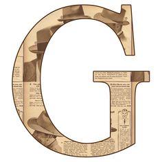 Alfabeto en periodico antiguo...G
