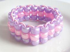 Lilac & Light Pink Triple Strand Elastic Bracelet by Purple Wyvern Jewels