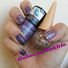 "Purple Magnetic Nails with White and Gold Glitter using Santee-Magnetic Nail Polish in ""Cloud"" and Mukka Glitter Polish #27"