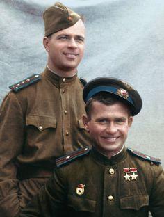 Twice Hero of Soviet Union Vasiliy Efremov with comrade Дважды Герой Советского…
