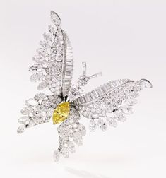 Bulgari butterfly. Yellow and white diamond brooch.
