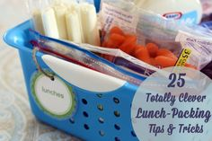 Cut costs by using a frozen sponge in a baggie to keep their lunch cool- it will absorb the excess water and works for lunch clean up. Packing lunches can really be a cinch if you know these 25 Totally Clever Lunch-Packing Tips & Tricks...
