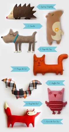 This is supposed to be inspiration for kids making their own cuddly animals. They could also be great characters for kids to use in stories. I can almost hear their (animal) voices in my head!: