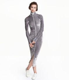Crushed-velvet Dress | Gray | Ladies | H&M US