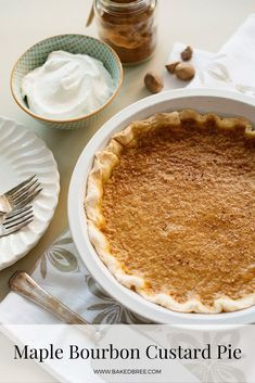 Maple Bourbon Custard Pie needs to make an appearance on your Thanksgiving table. Creamy custard with maple syrup, bourbon, and spices. Tart Recipes, Apple Recipes, Pumpkin Recipes, Holiday Recipes, Dessert Recipes, Winter Recipes, Christmas Recipes, Spring Recipes, Dessert Ideas