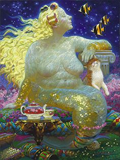 PURRFECTION Mermaids by Victor Nizovtsev, painter of fables, fantasy, theatrical and imaginative art Fantasy Mermaids, Mermaids And Mermen, Fantasy Kunst, Fantasy Art, Fat Mermaid, Manga Mermaid, Mermaid Artwork, Mermaid Paintings, Victor Nizovtsev