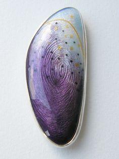 RUTH BALL enamel + design - mussel brooch