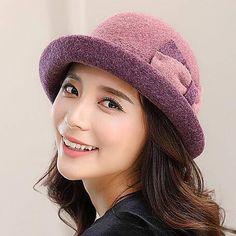 0271a5b9904 Dip dye bucket hat with bow for women winter warm wool hats outwear