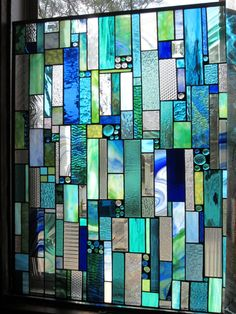 Stained Glass Sea Glass by stanfordglassshop on Etsy Modern Stained Glass, Stained Glass Quilt, Faux Stained Glass, Stained Glass Designs, Stained Glass Panels, Stained Glass Projects, Stained Glass Patterns, Modern Glass, Glass Wall Art