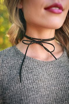 Tell Me About It Stud Choker Necklace In Black