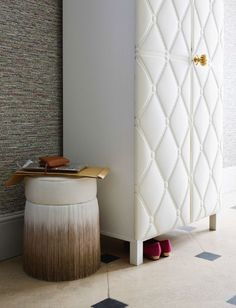 Awesome Ikea hack. Ikea cupboard with leather fabric cover.