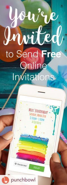 Paper invites are too formal, and emails are too casual. Get it just right with online invitations from Punchbowl. We've got everything you need for that birthday party. http://www.punchbowl.com/online-invitations/category/47?utm_source=Pinterest&utm_medium=73.1P
